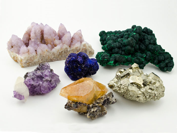 Amethyst, Calcite, Azurite, Malachite, Pyrite mineral specimens