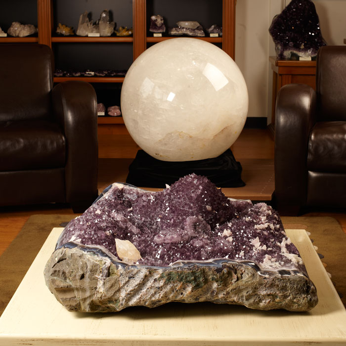Giant quartz sphere and amethyst geode from Brazil